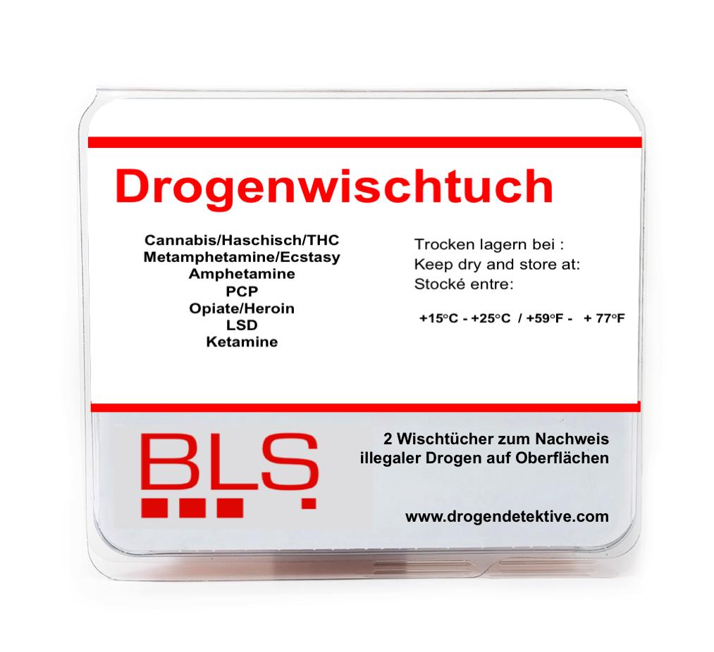 Drogenwischtuch - 10 Drogenarten - Heimtest für Oberflächen